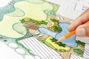 professional landscape designer drawing plan for landscape