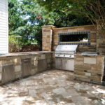 outdoor kitchen, hardscape patio, grill