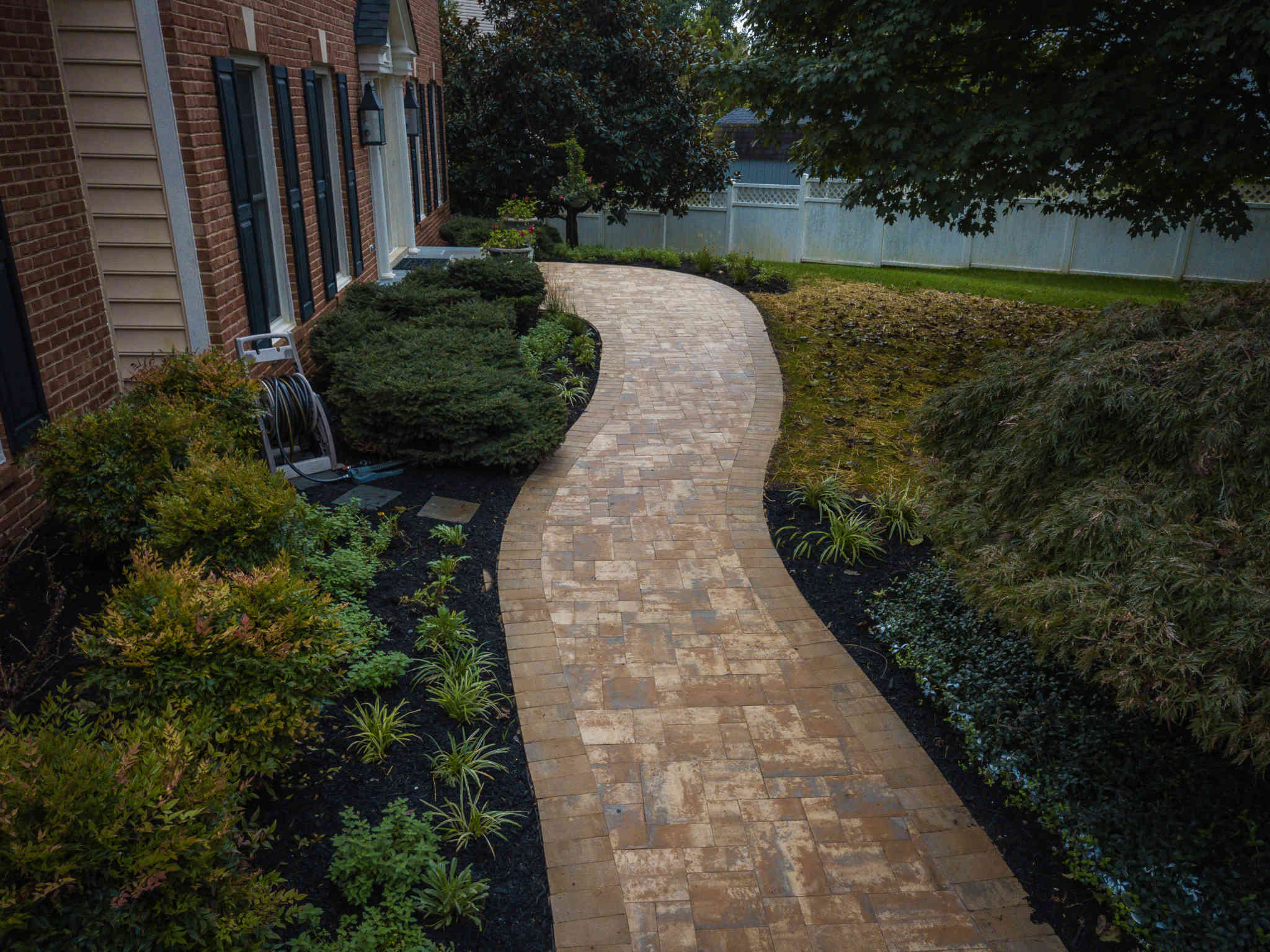 landscaping design, stone walkway patio, rhinelandscaping, clarksville, md