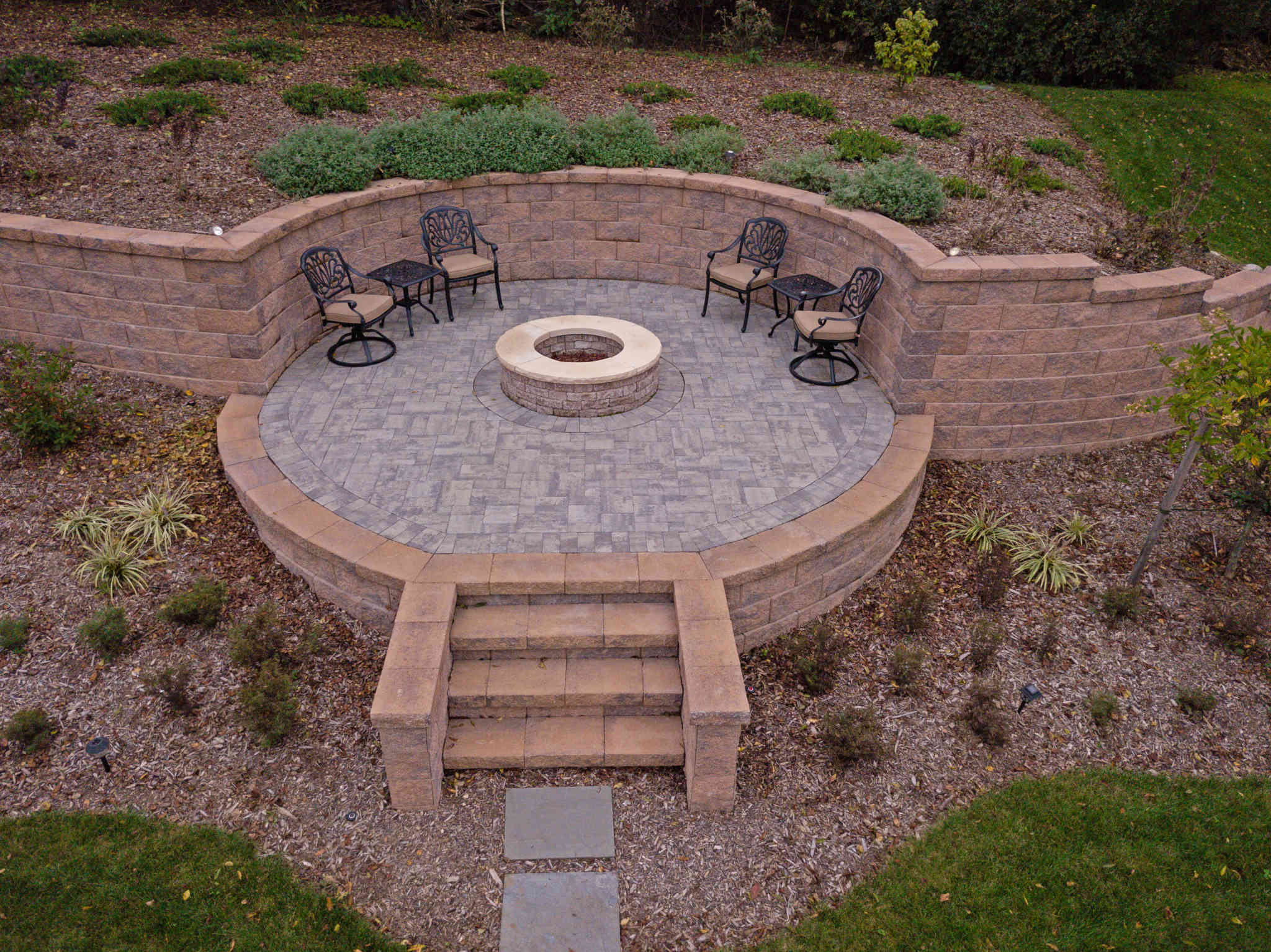 Retaining Wall, Fire Pit, Patio, Steps - Rhine Landscaping